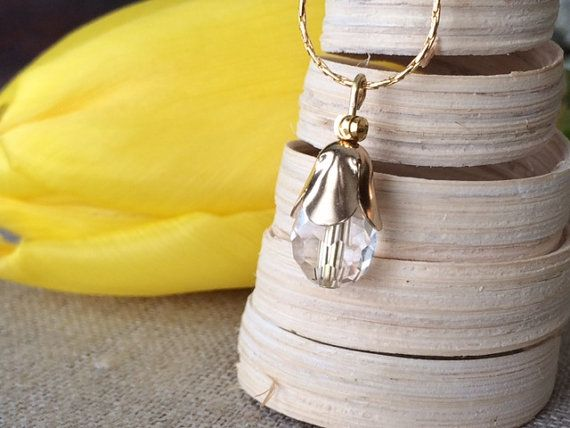 Tulip Teardrop Necklace Gold Necklace by CotonLilyCreations