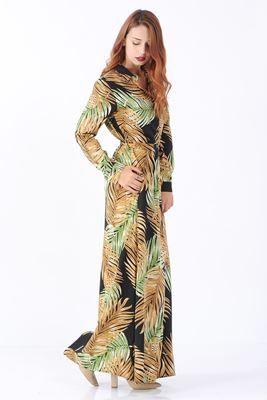 Detayları Göster Sarı Yeşil Yaprak Desenli Uzun Elbise