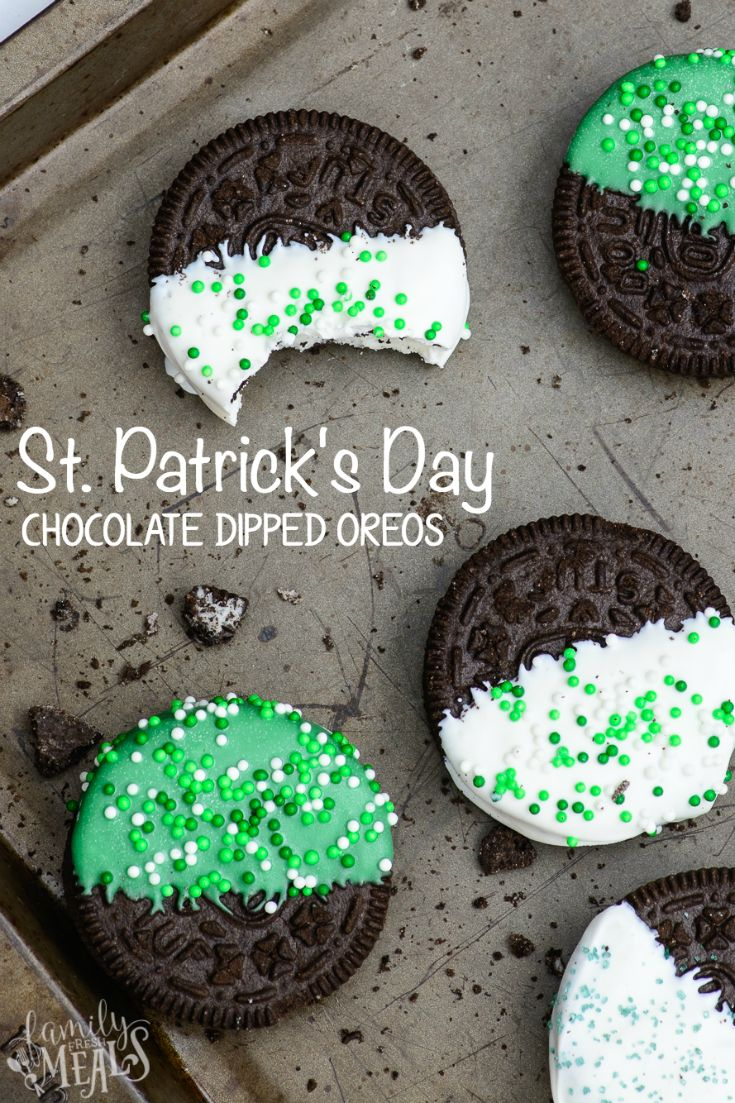 St. Patrick's Day Chocolate Dipped Oreos - FamilyFreshMeals.com
