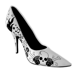 : Dresses Feet, Rollers Girls, Prints Shoes, White High Heels, Black And White, Rock Roll, Future Closet, Rolls Prints, Rocks Rolls