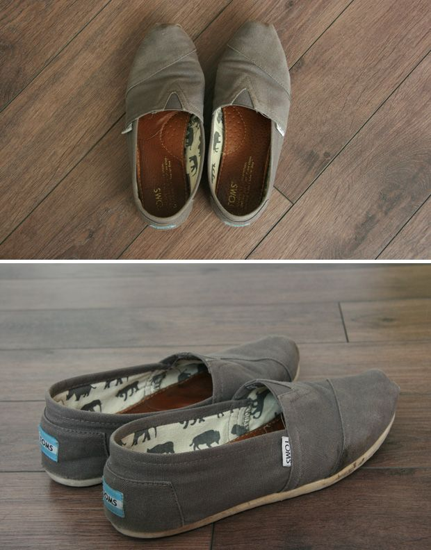 How to wash Toms shoes, I wore mine in the rain last weekend and now they are stinky too, time to wash.