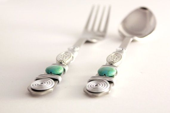 12 piece Dinner Fork and Spoon Set Silver Wire wrapped Beaded,Turquoise Green Dining Cutlery Silverware Flatware Utensil Houseware Wire Bead