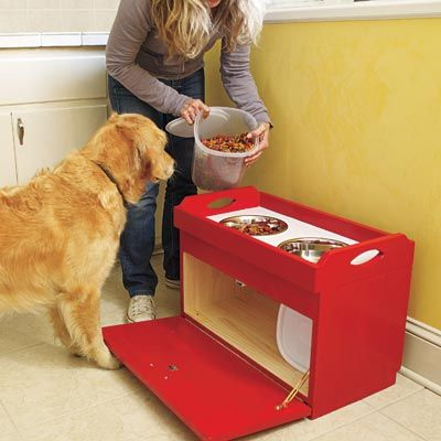 How to Build a Dog Feeding Station. good idea! Think I could
