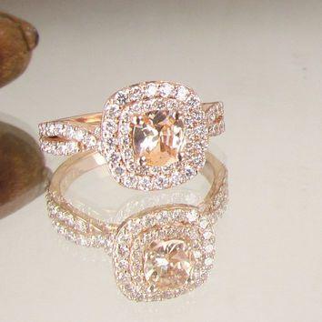 Cushion Peach Champagne Sapphire Infinity Engagement Ring 14k Rose Gold Diamond Halo Weddings Anniversary
