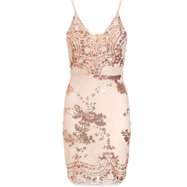 Nude And Rose Gold Sequin Bodycon Dress (£35) ❤ liked on Polyvore featuring dresses, body con dress, pink dress, sequin dresses, sequin bodycon dress and sequin cocktail dresses