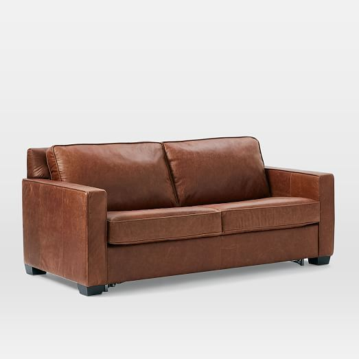 Henry® Pull-Down Leather Sleeper Sofa - Full (Tobacco) #westelm