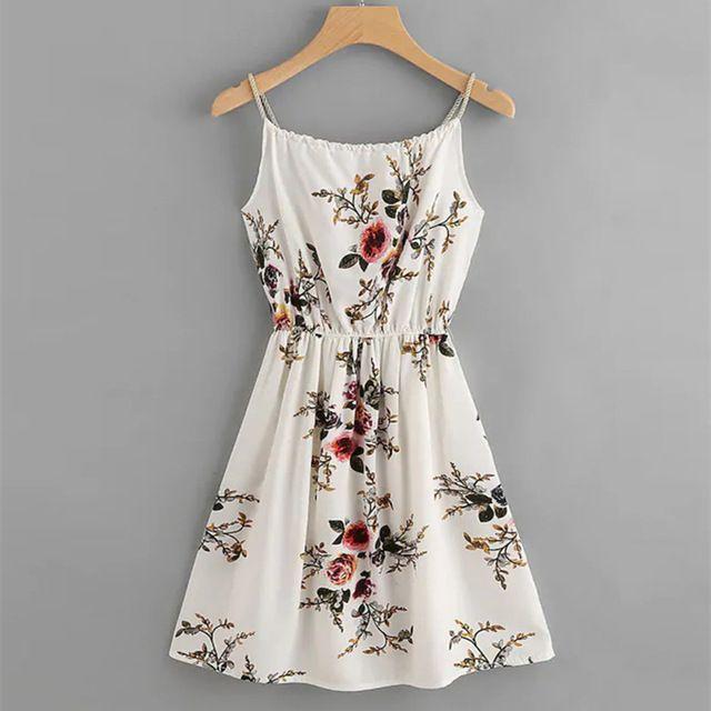 Casual Summer Dress 2019 Sexy Spaghetti Strap O-Neck Off Shoulder Women Midi Dress Vestidos Size S Color White