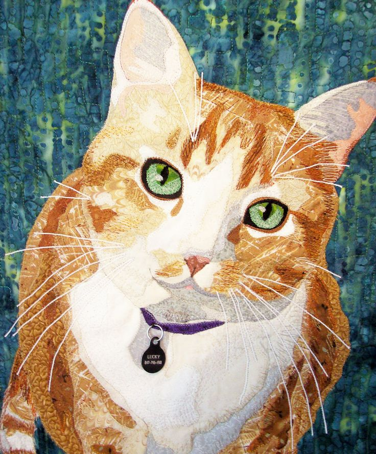 """The Eyes Have It"" (quilt of the artist's cat Lucky) by Cindy Garcia"