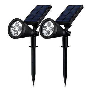 [Double Eclairage Exterieur LED] Mpow Lampe Solaire Jardin IP65 Certifié étanche 4 LED Soleil P2 Luminaire exterieur/ Spot exterieur 1.5w…