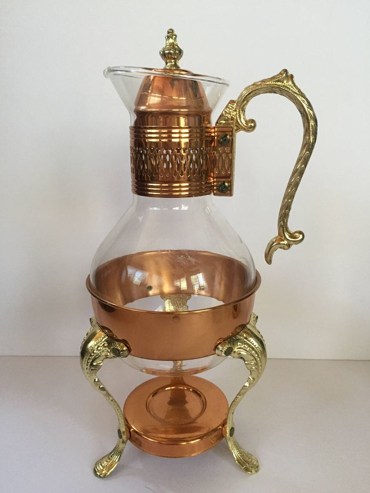 Vintage Leonard Silverplate copper and brass  glass coffee carafe with a wide  band, handle and  lid retro mid century victorian farmhouse by Atatteredtulip on Etsy