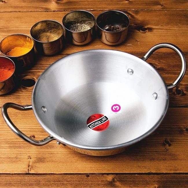 インドの食器&鍋 アルミニウム カダイ 【直径22cm】 インドの高級料理屋でタンドゥーリーチキンや、カレーの皿として使われることも多いカダイ。汁物をおしゃれに出す時に便利です