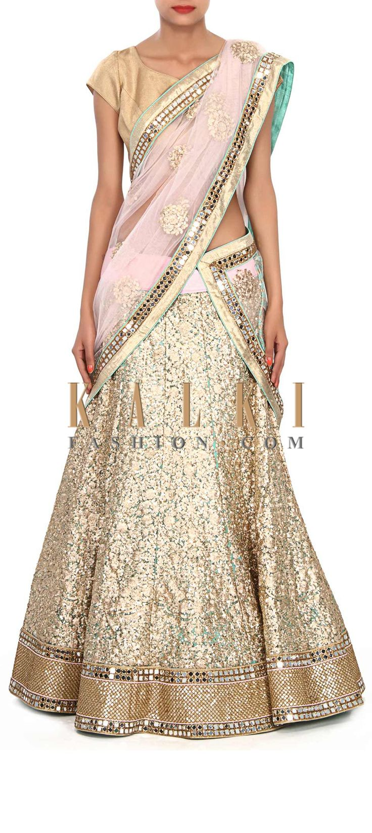 Buy Online from the link below. We ship worldwide (Free Shipping over US$100) Price-$1019 Click Anywhere to Tag Buy Online from the link below. We ship worldwide (Free Shipping over US$100) Price-$1019 Click Anywhere to Tag http://www.kalkifashion.com/champaign-gold-lehenga-embellished-in-sequin-embroidery-only-on-kalki.html