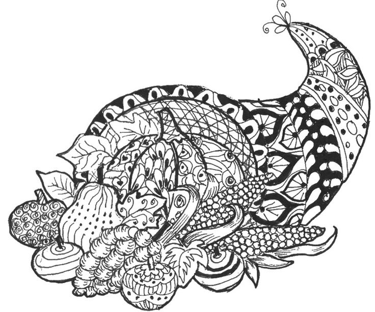 Free Printable Difficult Grown Up Coloring Pages Thanksgiving Creative Leisure Activities Beautiful Drawings Cornucopia Drawing 6