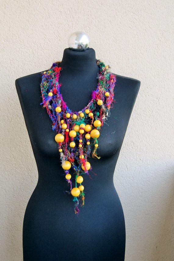 sari silk yarn statement necklace-wooden by handmadestreet101