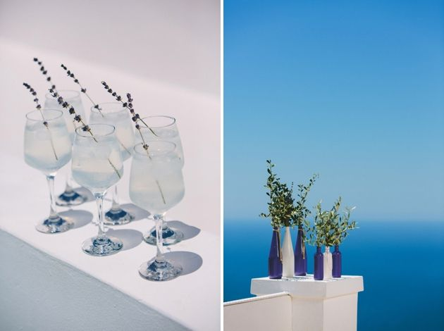Sprigs of lavender in cocktail glasses ensured that the theme ran throughout the day.  Photographer: Thanos Asfis Photography