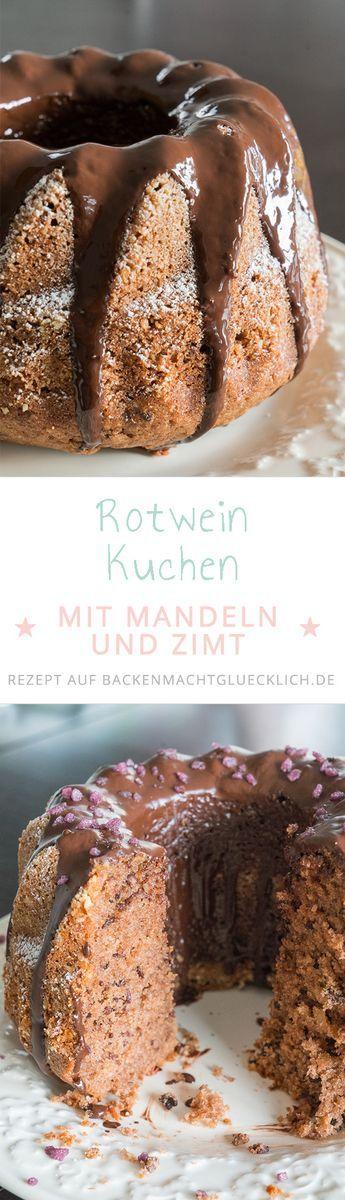 Rotweinkuchen ist besonders saftig und schokoladig. Dieses Rezept für einen Rotwein-Gugelhupf ist mit Mandeln, Schokolade, Zimt und Rotwein der perfekte Kuchen für den Herbst!