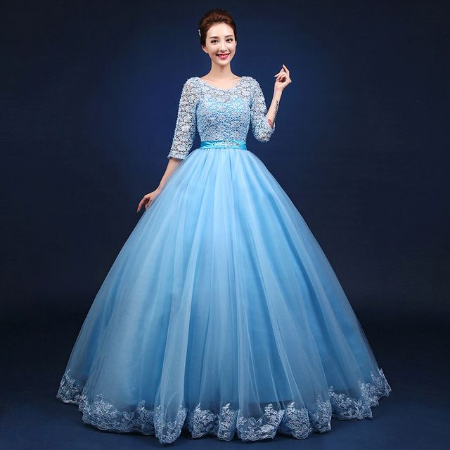 light blue full embroidery flower ball gown medieval dress sissi princess Medieval Renaissance Gown queen Victorian/ Belle ball