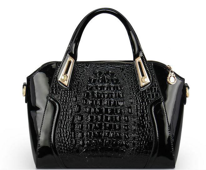 FREE SHIPPING Black Novelty Genuine Leather Handbag for