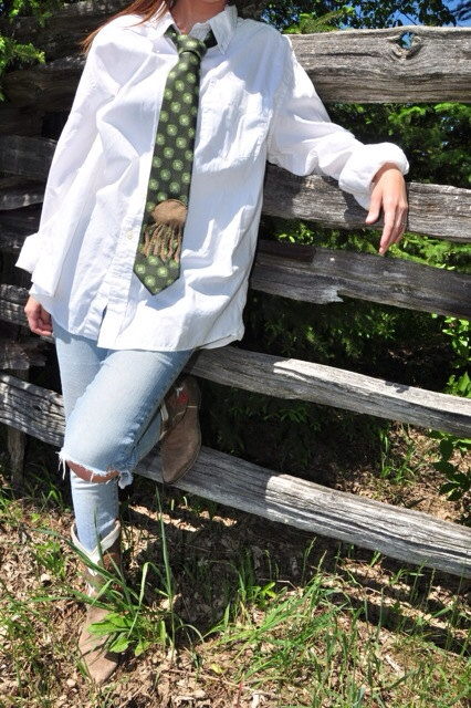 Jellyfish upcycled vintage necktie - forest green  on Etsy, $25.00 CAD