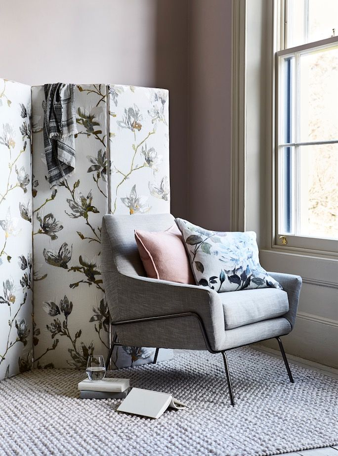 Create an elegant scheme with sepia blooms set against a neutral backdrop of dusky pink and taupe.  Where to buy: Walls in Peignoir Estate emulsion, £39.50 for 2.5L, Farrow & Ball. Three-panel screen, £180, The Dormy House; covered in Saphira Embroidery Eucalyptus 7748/03, £130 a metre; and trimmed in Alta Mini Lipcord Silver Birch T78/12, £7.50 a metre; both Romo. Lucas chair, £499, West Elm. Bobble rug, £345, Loaf. Twill Linen plain cushion, £41.67, The Conran Shop. Couture Rose floral…
