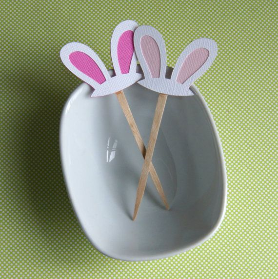 12 Easter Bunny Ears Toppers . Easter Party Picks by scrapbits