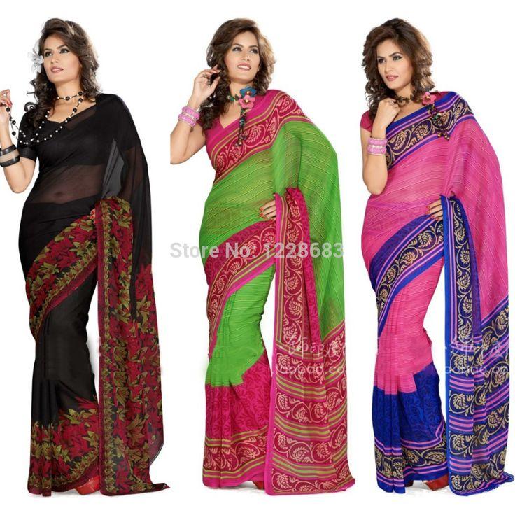Indian Saree Custom Made Black Georgette India Sari Dress Girls Women Indian Traditional Sarees(China (Mainland))