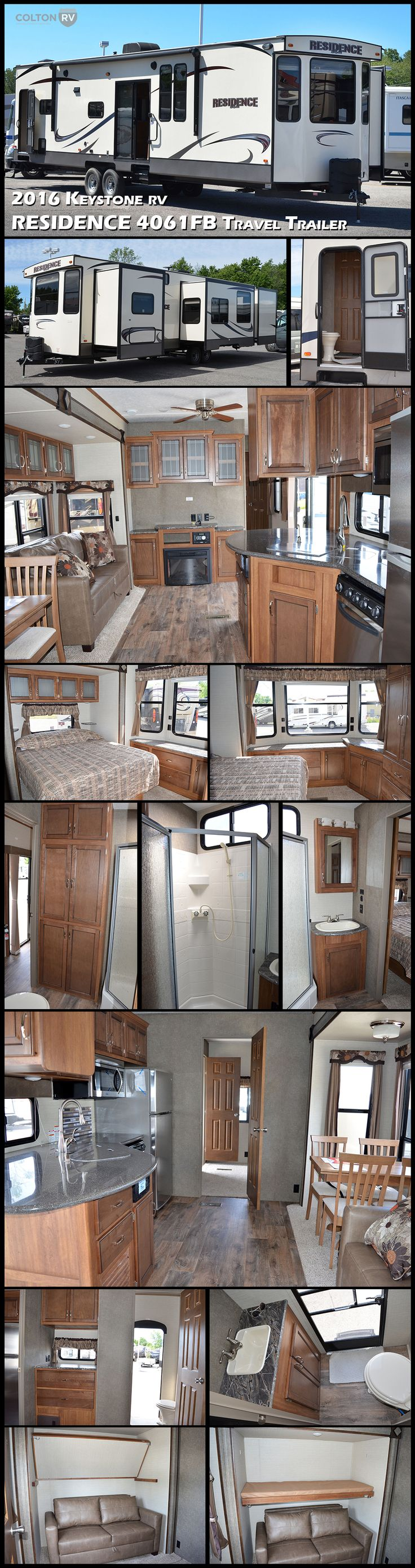 Your home away from home…the KEYSTONE RV RESIDENCE 4061FB Destination Travel Trailer. You will love the queen master suite up front with its large gorgeous windows, dresser and wardrobe with access to a bathroom. While the rear bunk room features an air bed sofa with flip down bunk above, entertainment, storage and a half bath. In the main living area there is a large sliding glass patio door allowing natural light fill the room.
