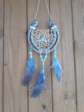 Glücksfänger - Traumfänger aus Hufeisen, Modell Blue Sun