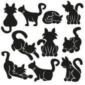 Conjunto de vetores de gatos bonitos — Vetor de Stock