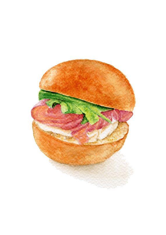 Pittura originale - panino di Mini brioche con cetriolo al mascarpone salmone affumicato marinato (acquerelli Wall Art, natura morta) A5