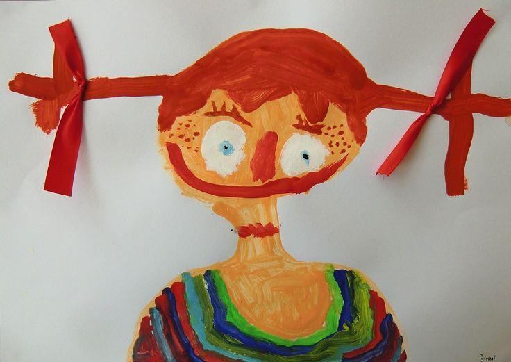 PIPI DLOUHÁ PUNČOCHA - vystihnout portrét známé pohádkové postavy, zaměřit se na jednotlivé prvky obličeje, naučit se vázat uzel na stuze a ten umístit na copy Pipi (malba temperovou barvou)