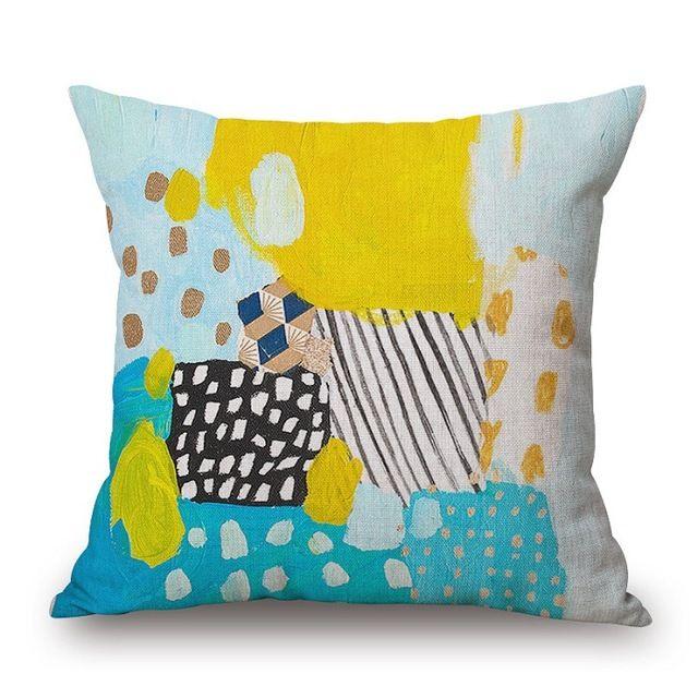 Obicia na poduszki Cukierki Kolor Abstrakcyjne Malarstwo akwarela Poduszka Przypadki Cienkie Pościel Bawełniana Sypialnia Sofa Dekoracji