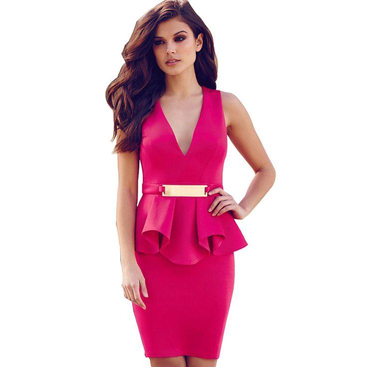 Bright V-neck Dresses //Price: $29.16 & FREE Shipping //     #womensfashion