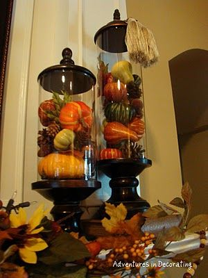 Closer look at decorated jars for fall mantle