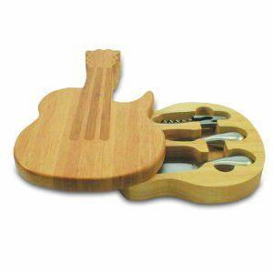 Guitar cheese board with corkscrew, cheese knives! This will be awesome for any casual party featuring a live band!: