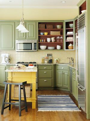 Yellow Painted Island Gives A Nice Pop Of Color In This Soft, Green Painted  Kitchen.     My Kitchen Yellow Island And Cream Cabinets?