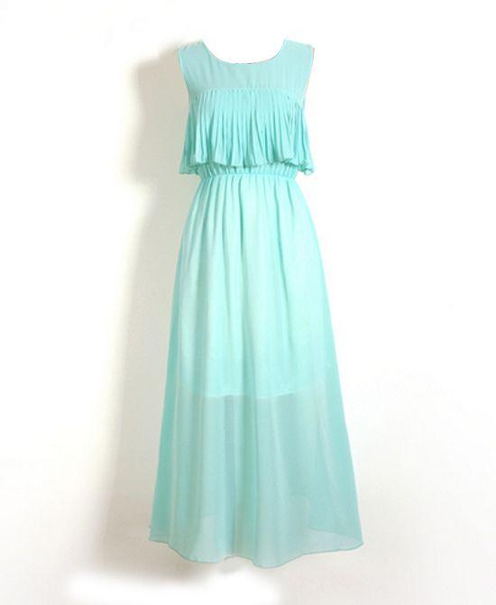 High Waist Sleeveless Chiffon Dress With Flouncing Rim
