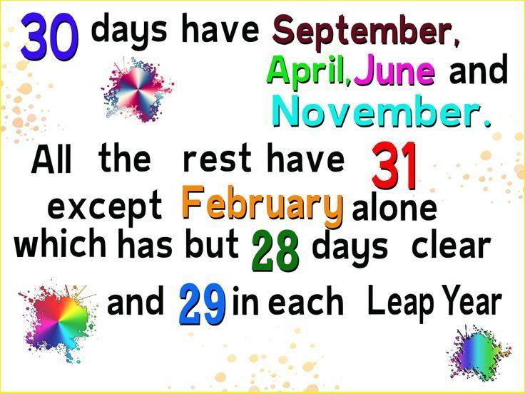 Thirty days hath  September poem ♥