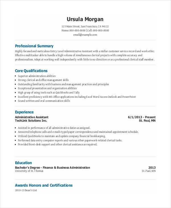 top 20 entry level administrative assistant resume