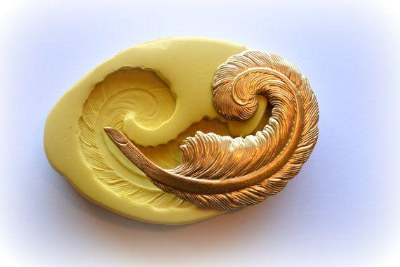 0381 gauche face à grande plume Plume Silicone caoutchouc souple alimentaire sécuritaire moule moule - fondant, cire, résine, savon incorporer, gâteau, décoration, argile