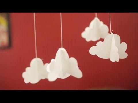 Móvil de nubes en papel - YouTube