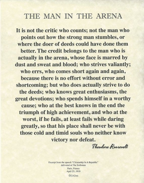 "The Man In The Arena Theodore Roosevelt Quote on Archival Fine Parchment 8.5""x11"" (21x28cm)"