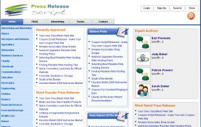 Press Release Script for News, Magazine, Blog Website