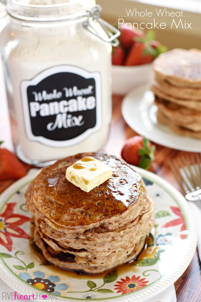 Homemade Whole Wheat Pancake Mix Recipe - Five Heart Home - Keeping a jar of all-natural Whole Wheat Pancake Mix in your pantry means that you can whip up a breakfast of fluffy, homemade, 100% whole wheat buttermilk pancakes in a matter of minutes!