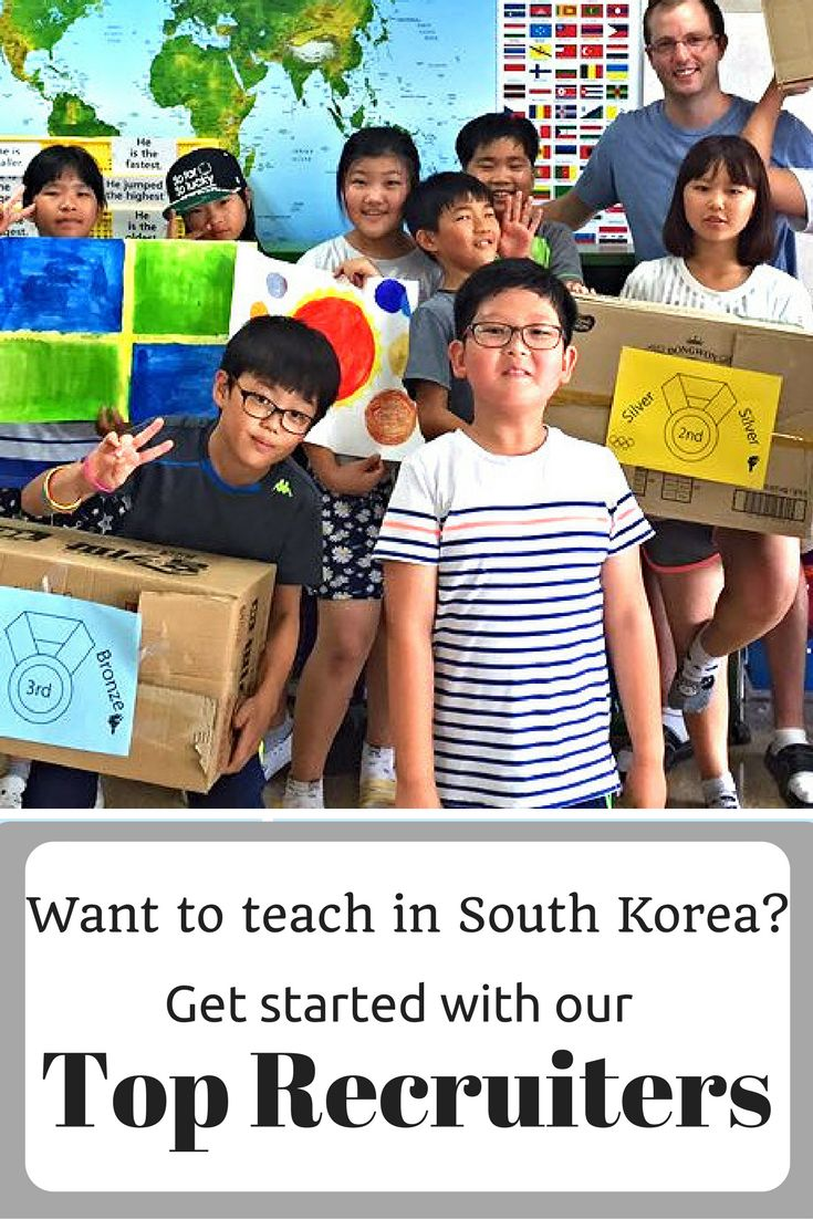 Top recruiters for teaching in South Korea.