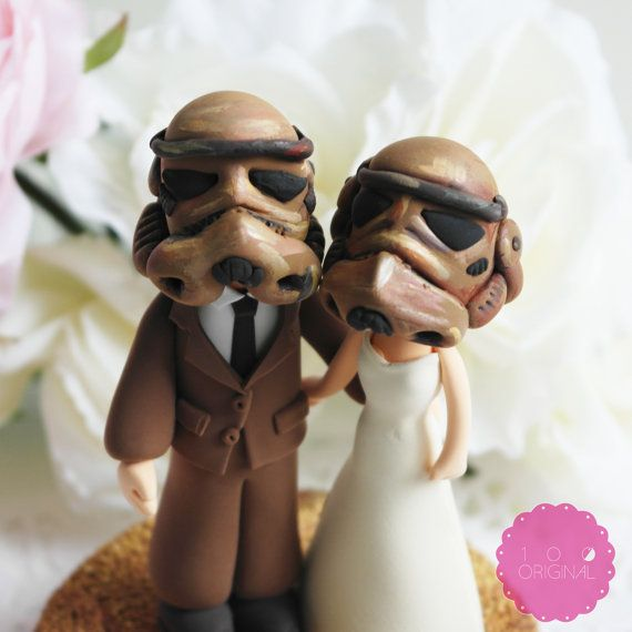 Custom Cake Topper Star troopers couple by TheRosemarryToppers