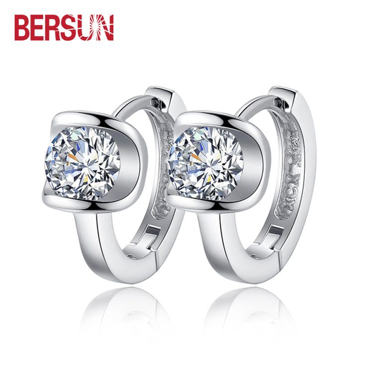 Bersun 2016 New 925 Sterling Silver Women Small Earrings Fashion Fine Jewelry Angel Kiss Luxury Crystal Stud Earrings Wholesale ** Nazhmite na izobrazheniye dlya boleye podrobnoy informatsii.