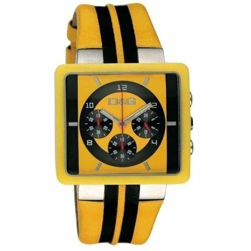 D&G orologio chrono sportivo e alla moda con cinturino in pelle gialla e nera e cassa in acciaio