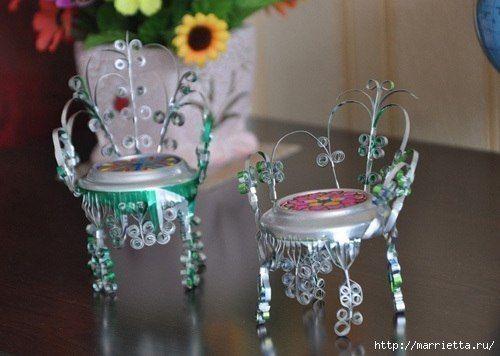 Миниатюрная мебель из алюминиевых банок | Поделки своими руками