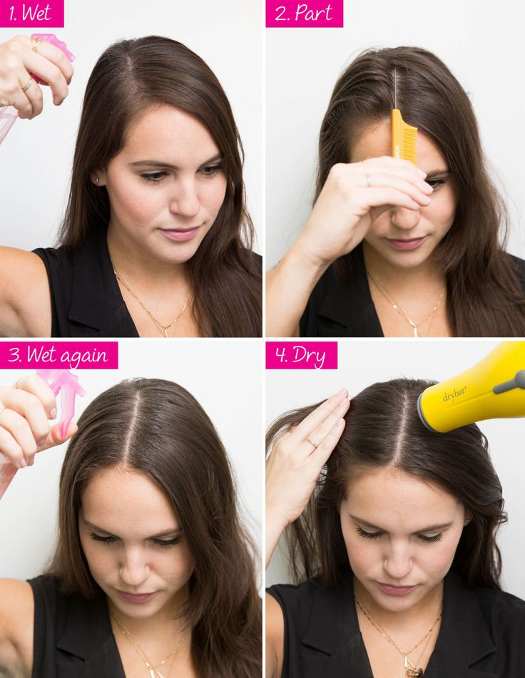 Seamlessly switch up your part from side to middle in four simple steps. If you have a severe center part and want to wear a side part (or vice versa), first wet down the hair at your original part. Next, create the new part and wet it down (water is key to manipulate and knock out the hold of your previous part). Finally, to lock in your new part, hit it with heat from a blow-dryer.